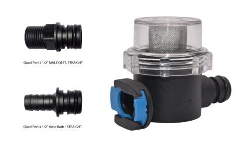 "1//2/"" Male QEST // 1//2/"" Hose Barb Quad Port Inlet Water Strainer Filter"