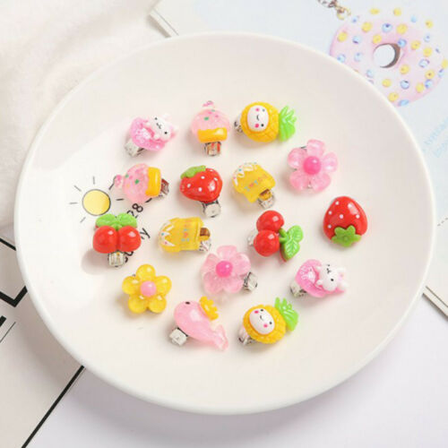 10 Pairs Cute Clip-On No Pierced Earrings For Kids Child Girls Christmas Gift