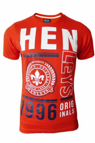 Henleys bloc Hommes T Shirt Nouveau NEUVE de la marque Imprimé Graphique Tee Top