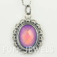 New Vintage Multi Color Change Facet Cut Oval Stone Mood Necklace Retro