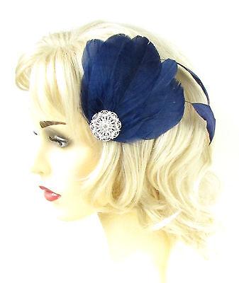 Indigo Navy Blue White Silver Peacock Feather Fascinator Hair Clip 1920s Vtg 147