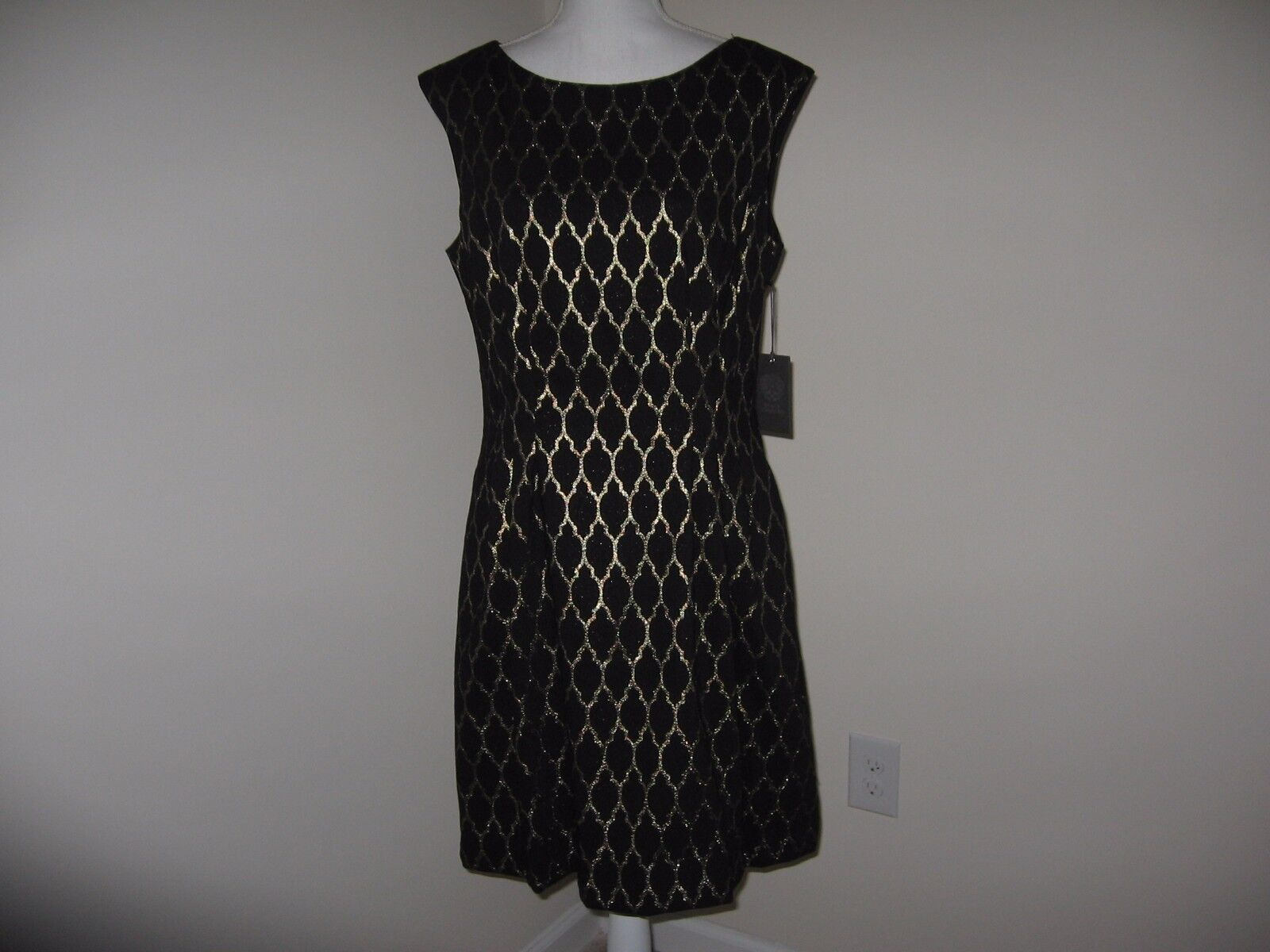 Vince Camuto Metallic Jacquard Fit and Flare Dress for Woman Size 14 NWT