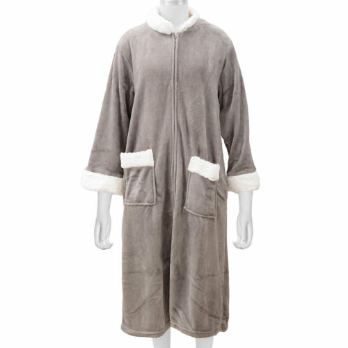 Gray Cozy Soft Long Flannel Robe with Zipper Sherpa Collar M//L 100/% Polyester