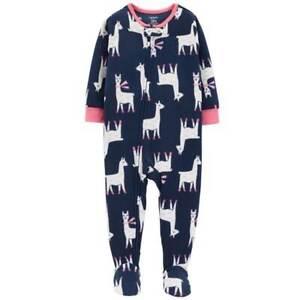 Clothing, Shoes & Accessories Intellective Carter's Blue & Pink Llama Print One-piece Fleece Sleeper Toddler Girl 5t Pajama Yet Not Vulgar
