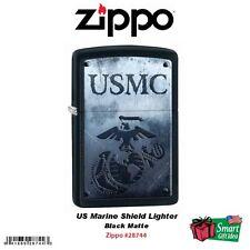 Zippo US Marine Shield Lighter, Black Matte #28744