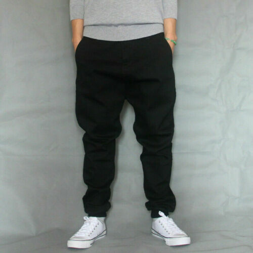 Men Drop Crotch Harem Trousers Pant Stretch Loose Baggy Tapered Hippy Casual