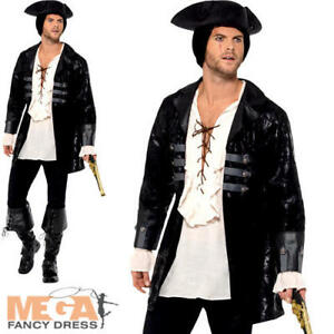bb1aa739 Details about Buccaneer Pirate Jacket Mens Fancy Dress Caribbean Buccaneer  Adults Costume New