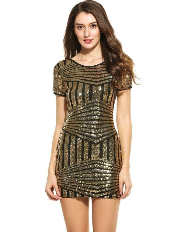 2d180286efc6 ... Vestito mini abito tubino tubino tubino donna paillettes elegante moda  nero oro 3305 a06844 ...