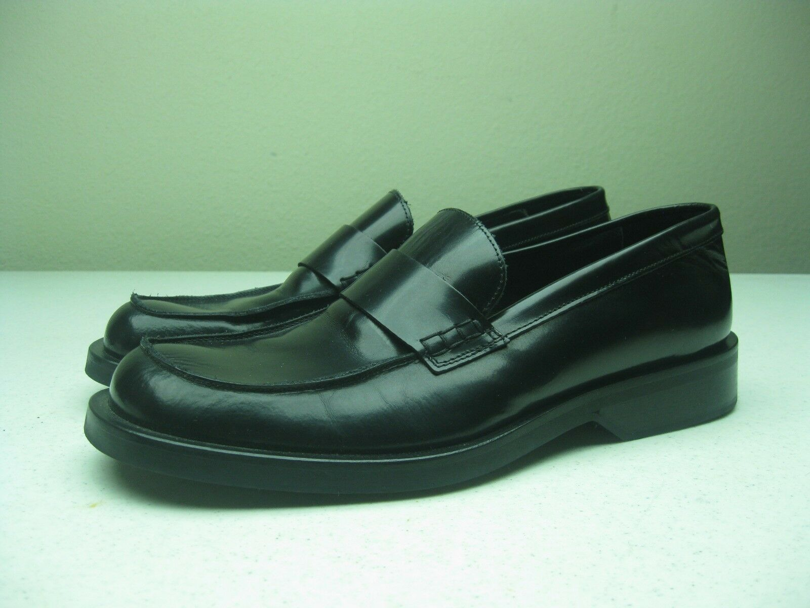 Vintage ITALY J. CREW BLACK CLASSIC LEATHER LOAFER 9 M EXECUTIVE BUSINESS SHOES
