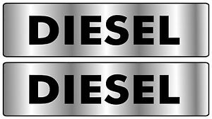 2X 55X15MM DIESEL PRINTED STICKER silver back black writ CAR BUS TAXI PRINTED