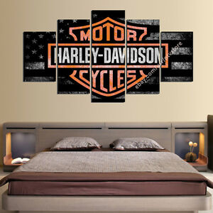 Image Is Loading Harley Davidson Wall Art 5 Panel Canvas Motor