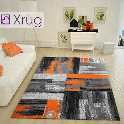 Modern Abstract Rug Black Grey Orange Pattern Soft Carpet Bedroom Small Large Xl Ebay