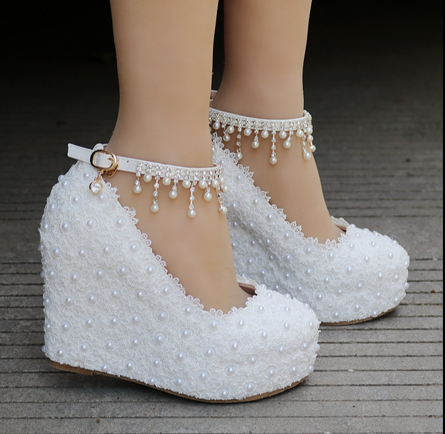 Womens Wedding Platform Wedge Heel Lace Flower Pearl Buckle Dress shoes White A3