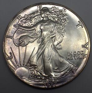 1987-AMERICAN-EAGLE-1-DOLLAR-PURPLE-TONED-SILVER-COIN-DBW