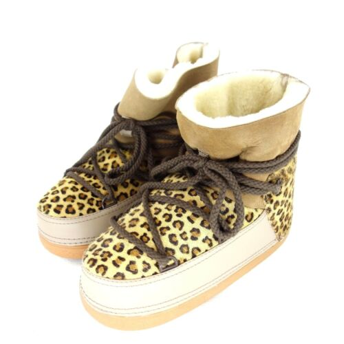 En Brun 4250800278703 359 Np Dames Bottes D'agneau Léopard Cuir 39 Nouveau 38 Cuir Chaussures Ikkii Faible OXuZiPk