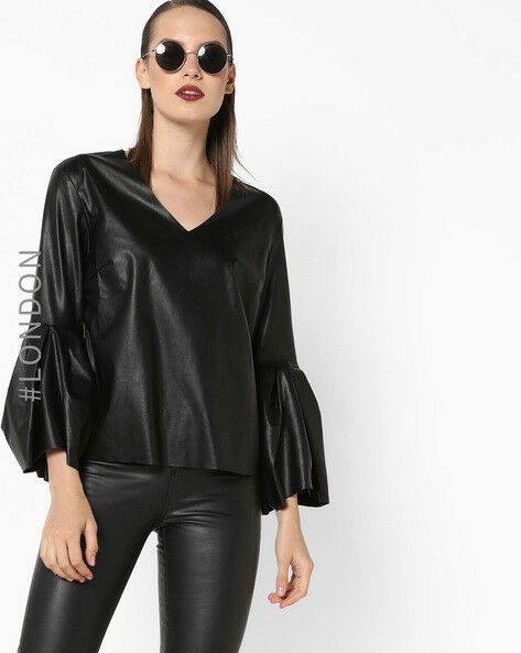Women Natural Nappa Leather Ruffle Style Long Top With bell sleeve