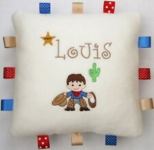 Cowboy Cuddly Taggy Cushion  PERSONALISED  Unique Baby Toddler Birthday Gift