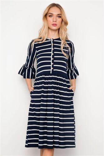 Hidden Alley Womens Dress Navy Striped Ruffle 3//4 Sleeve Midi Boho Size S M L