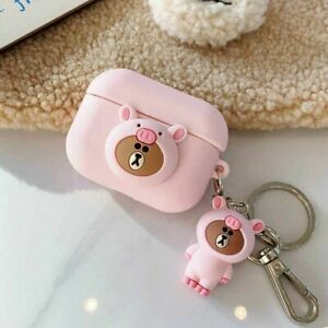 AirPods Pro Case Super Cute One-Piece Wearing Pig Hat Bear Decoration...