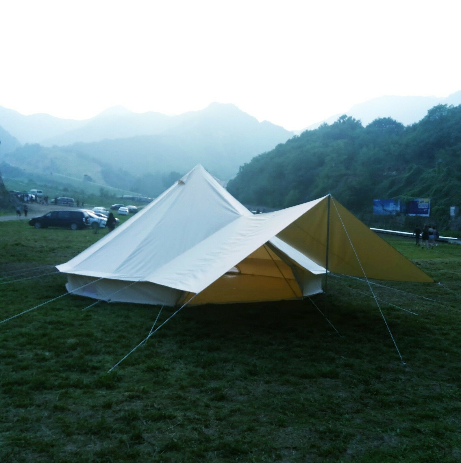 3M 4M 5M 6M Canvas Bell Tent Waterproof Single-Door Beige LargeCamping Yurt Tent