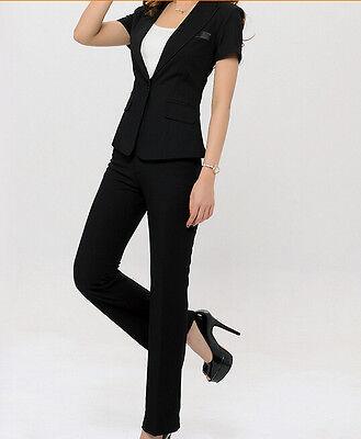 Elegante Tailleur completo donna nero giacca a manica corta e pantalone cod 7042