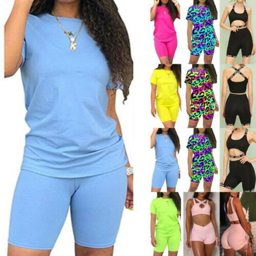 Women Tracksuit T-Shirt Gym Shorts Pants Lounge Wear Top Tee Casual Co Ord Set