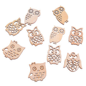 Sewing-scrapbooking-accessories-mix-natural-owl-shape-wooden-crafts-handmade-AS