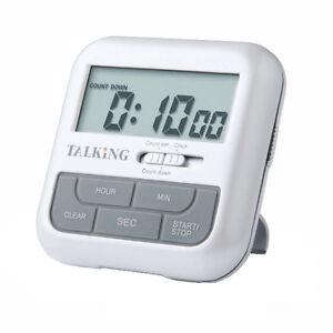 Pocket Talking Timer And Clock English Alarm Loud