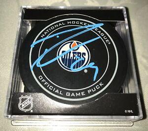 Leon-Draisaitl-Signed-Autographed-Game-Puck-Edmonton-Oilers