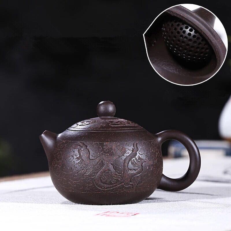 Handmade tea pot Yixing Zisha violet Grit pot marqué xishi dragon sculpté Tea Pot