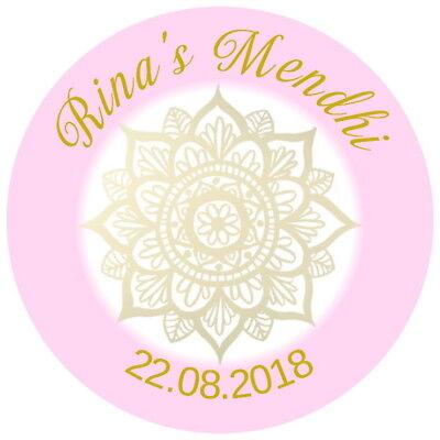 Personalised Gloss Qualità Mehndi Mendhi Favore, Grazie Adesivi Rose & Gold-