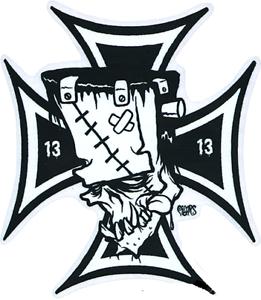 Franken-Cross-13-STICKER-Decal-Frankenstein-Surf-Cross-Eric-Pigors-PG52