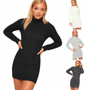 New Womens Polo High Neck Long Sleeve Cable Knitted Jumper