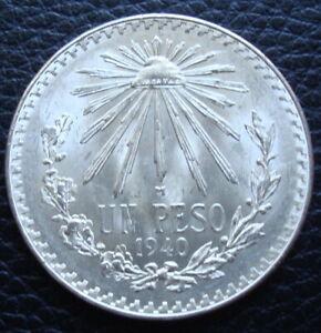 1940 Mexico $1 Pesos Silver Brilliant Uncirculated.Please Se The Coin