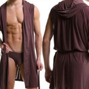 Men-Bathrobe-Sleeveless-Silk-Slippery-Pajamas-Hooded-Robe-Bathrobe-Ultra-thin-hw