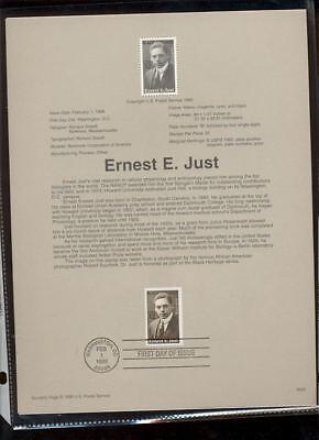 #3058 32c Ernest E. Just USPS #9605 Souvenir Page
