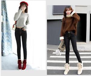 Women Winter Thick Thermal Warm Fleece Nap Jeans High Waist Trousers Slim Pants