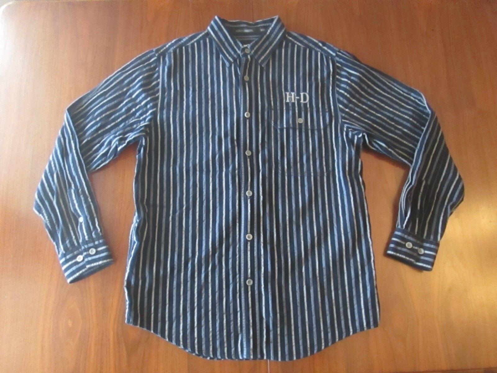 50ec6699 Vintage Work Shirt Style HARLEY DAVIDSON Striped Long Sleeve Button Front  Size M