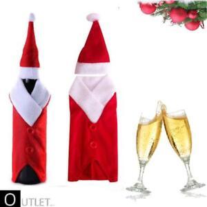 Decorazioni Bottiglie Natalizie.Set Natale 2 Copribottiglia Vestito Babbo Natale Bottiglie Di Vino
