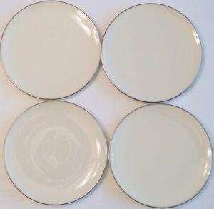SET-OF-4-Lenox-Olympia-Platinum-Bread-Dessert-Plates-Ivory-China-6-3-8-inches