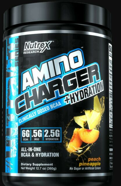 Nutrex Research Labs Amino Charger Hydration BCAA EAA Peach Pineapple 360G