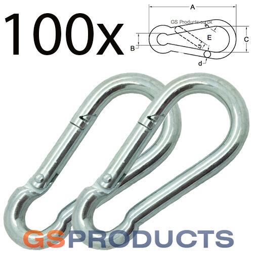 100 x 5mm 50mm Snap Hooks Carabina Karabina Snap Spring Clip Hooks FREE POSTAGE