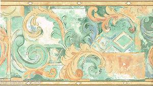 Acanthus-Leaf-Scroll-Orange-Peach-Salmon-Blue-Green-Teal-Swirl-Wallpaper-Border