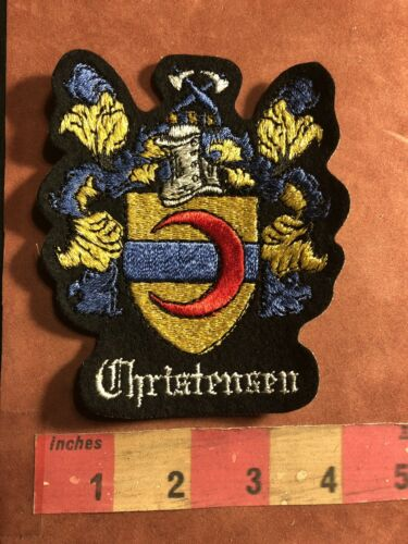 Circa 1980s CHRISTENSEN Last Name Patch Surname Family Crest Coat Of Arms 95MA