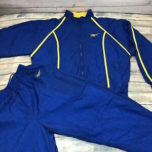 Vintage-80-s-Reebok-Blue-Women-Sz-S-Windbreaker-Tracksuit-Set-Jacket-Pants-Rare