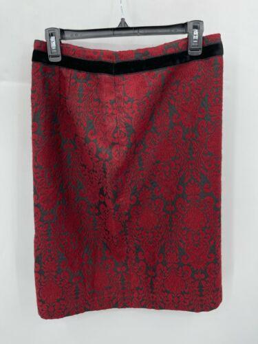 Talbots Womens 6 Skirt Red Black Brocade Pencil Ve