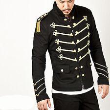 Men Handmade Black Embroidery Blue Military Napoleon Hook Jacket 100/% Cotton