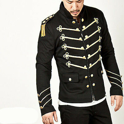 Men Handmade Black Embroidery Black Military Napoleon Hook Jacket 100/% Cotton