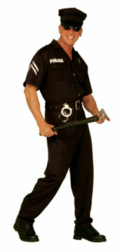 Mens U.S American Cop Police Fancy Dress Costume Stag Group FREE TRUNCHEON!!
