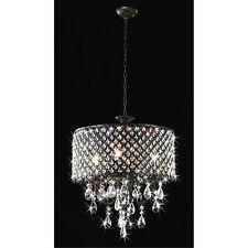 Round 4-light Antique Bronze Crystal Chandelier Pendant